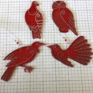 Native NZ bird laser engraved acrylic decorations