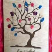 Finger print tree guest book