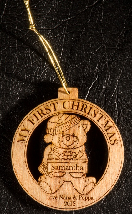Laser-engraved first Christmas teddy decoration