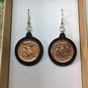 NZ two cent piece coin earrings