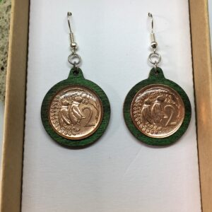 Two cent piece NZ coin earrings