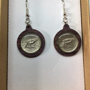 Six pence NZ coin earrings
