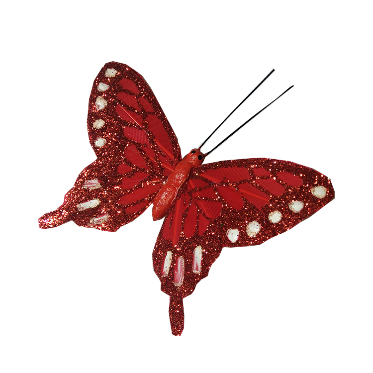 Glittery butterflies - red