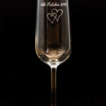 Personalized wedding flutes + hand made box