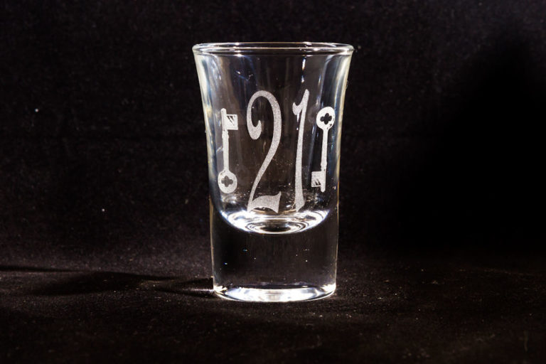 Laser-engraved shot glass