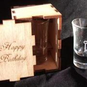 Laser-engraved shot glass with box
