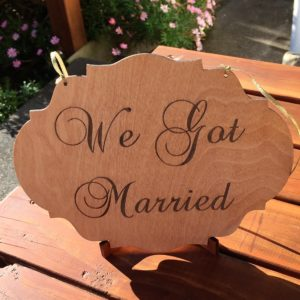 Laser-engraved wedding sign