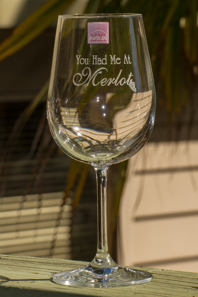 Laser-engraved wine glass