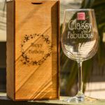 Laser-engraved wine glass with box